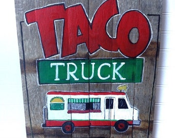 Tacos food truck sign.great for patios,mancave or your taco truck! colorfully hand painted on oak and ready to hang.
