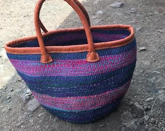 African sisal Baskets| Basket Bag| Multi color Woven Basket| Sisal Bag| Kenyan Bag| Kiondo Basket Bag| African Market Bag| Sisal Handbag