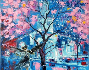 Coming of Angel Oil painting on canvas palette knife wall art