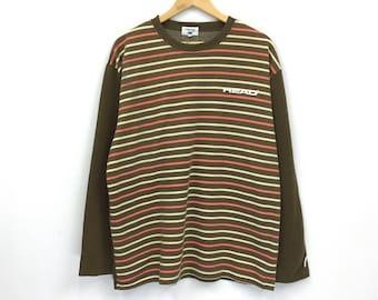Rare!!Vintage Head Sweatshirt Long sleeve Striped Pullover Jumper Hiphop streetwear