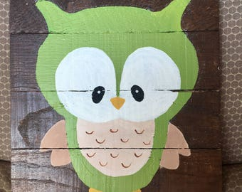 Owl woodland creature pallet wood sign 12in x 12in