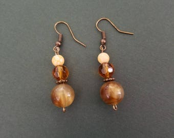 Beaded earrings, brown earrings, woman's jewelry, gift for her, birthday gift, Christmas gift, stocking stuffer, handmade jewelry, gift