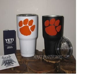 CLEMSON 30oz Yeti Rambler Choose size and color,Personalized Yeti tumbler cup black orange white purple Tigers Paw