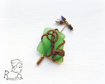 Sea Glass Brooch with Dangles
