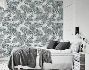 papier peint feuille de palmier etsy. Black Bedroom Furniture Sets. Home Design Ideas