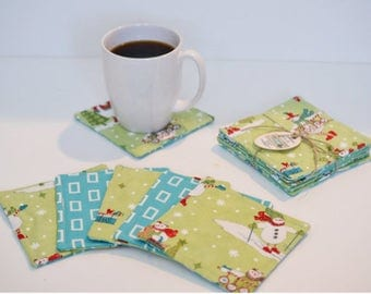Quilted Coasters/ Cup coaster/ Mug rugs/ quilted mug rugs/ coaster/ Winter Coasters/Coaster set/ Gift Ideas/ wedding gift/Cotton anniversary