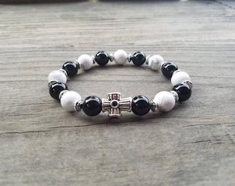 Black Onyx and White Howlite Beads