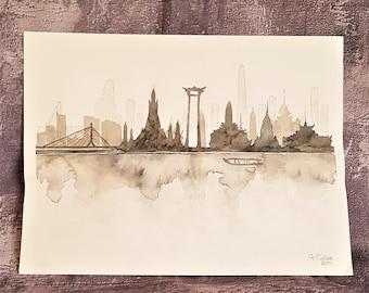 Painting Watercolor Skyline Bangkok-watercolors travel Asia Bangkok-Watercolors Travel