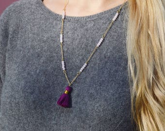Personalized Delicate Gold Tassel Necklace- Purple Tassel Necklace with Beads