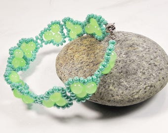 Woven Bracelet Green Beaded Bracelets for Women Delicate Peyote Bracelet Beadwork Handmade Jewelry Gift for Women Jewelry Gift for her