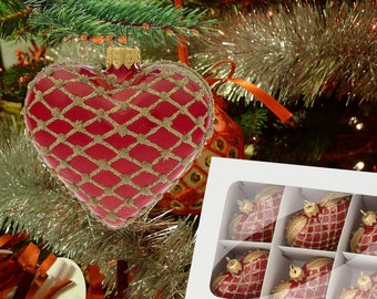 Glass heart ornament-red and gold heart-large glass heart-hanging heart bauble-red gold xmas tree-hand decorated red-holiday tree bauble-113