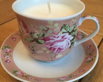 Mini Teacup Candle and Saucer Vintage Shabby Chic Easter