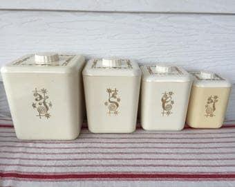 Vintage Canister Set, Set of 4, Flour, Sugar, Coffee, Tea, Columbus Plastic Products Inc.,