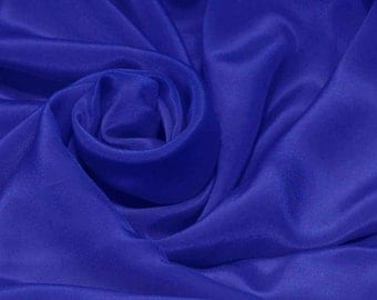 "Sample/ Yards/Mters 100% Pure Silk Fabric Crepe De Chine 55"" /140cm wide 14momme Material Electric blue crepe 26W-14mmW Online for sale"
