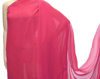 114cm /45 inches wide Vitrual Pink Silk Georgette Chiffon Fabric 8mm dressmaking material sheer CN-73 by the yards or by the meters