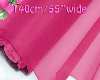 140cm Wide Carmine Pink 100% Real Mulberry Silk Organza Fabric Natural Silk Material (QI Za 20007W X Yards / Meters)