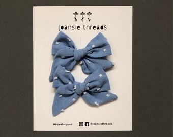 Blue Swiss Dot Lola Pig Tail Bows- Girls Bows/ Baby Bows