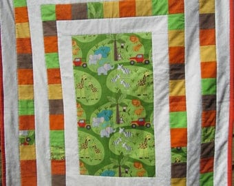 Safari animal baby minky blanket