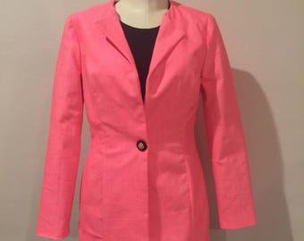 Bright Pink Stretch Cotton Jacket 1 Button