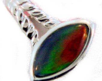 Marquise Shaped  Canadian Ammolite Pendant set in  Sterling Silver.
