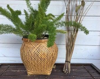 Vintage woven rattan basket planter | bamboo basket planter | boho decor | wicker storage