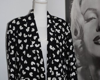 Vintage Women's Blazer w/ Hearts and Polka Dot Pattern