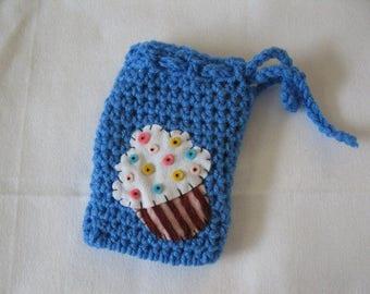 Child Purse crochet favorite CUP CAKE Applique PC56