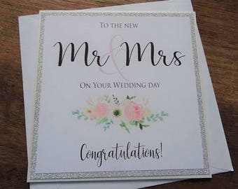 To the new Mr & Mrs on your Wedding Day  Congratulations! Handmade Wedding Card
