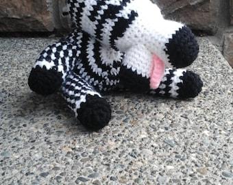 Hand crocheted chubby zebra baby