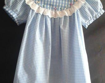 Girls short sleeve round yoke dress