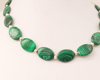 Oval Malachite stone beads and 925 Sterling Silver beads necklace. 925 Sterling Silver rolo necklace.