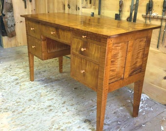 Tiger Maple Desk / Handmade Keyhole Desk with Drawers / Shaker Writing Desk / Curly Maple Desk Shaker Desk Made in New England