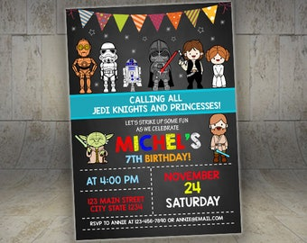 Star Wars invitation, Star Wars birthday invitation, Star Wars party invitation, Personalized invite, Star wars Invite