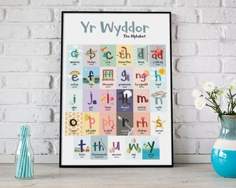 A2 Yr Wyddor/The Alphabet Print for Children's Bedroom or Playroom