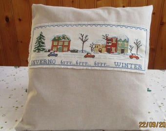 """Cushion cover-stitch """"Winter Winter"""" made Perfect as a Christmas present!"""