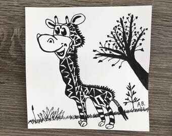 Giraffe pen drawing