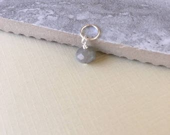 Sterling silver labradorite dangle,gift for her,necklace dangle necklace add on,minimalist jewelry,gray dangle, gray stone