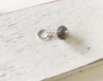 Smokey quartz drop,  wire wrapped beads, necklace add on,  wire wrapped quartz, brown dangle, gift for her, minimalist jewelry
