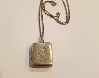 Vintage engraved locket, silver,