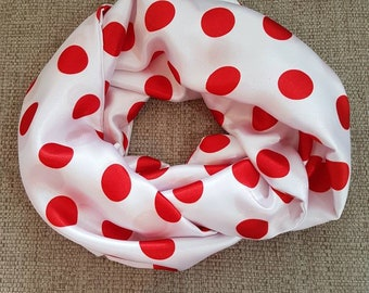Ladies Satin Red Polka Dot Infinity Scarf