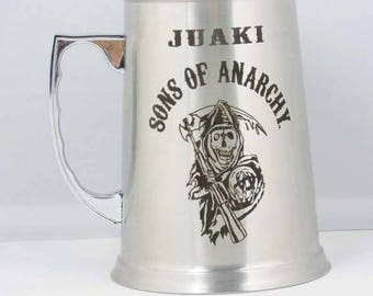 Beer pitcher Steel engraved with drawing and text desired