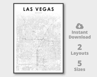 Las Vegas Map Poster Etsy - Nevada printable map