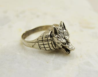 Wolf ring, Handmade Sterling Silver Ring, Animal Wrap Ring, Jewelry Mens Wolf Ring, Biker Wolf Ring, Silver Wolf Ring, Silver 925K, all size