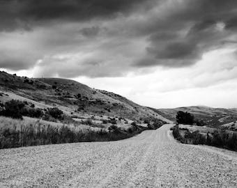 Digital Download - B&W Road Landscape Photograph