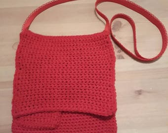 Hand made Over shoulder bag red with three pockets