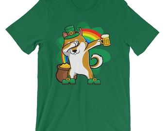 Funny Dabbing Leprechaun Shiba Inu T-Shirt, St Patricks Day Shirt