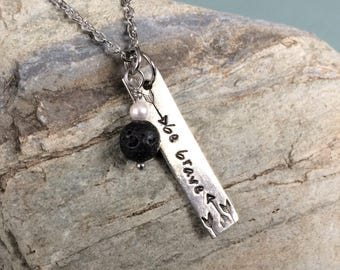Hand Stamped Vertical Bar With Lava Stone