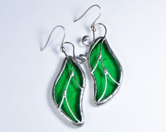 Stained glass leaf earrings, silver plated, green leaf, stained glass jewelry gift, boho jewelry, unique gift idea, gift for her