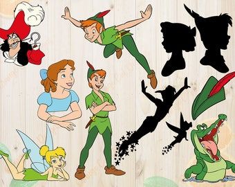 Peter Pan Svg, Tinker Bell and Peter Pan Cutfiles: Svg, Dxf, Eps, Png files, Layered Peter Pan Characters svg for Cricut, Silhouette.