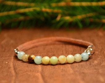 blue beaded bracelet, amazonite gemstone bracelet, spiritual bracelet with stones, rustic bohemian bracelet, leather bracelet, gift for her